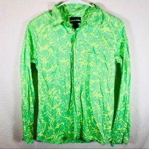 J crew womens long sleeve boy shirt green tropical